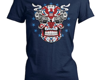 Ladies Tee - American Sugar Skull - Civil Rights - USA - Right to Bare Arms - Tattoos - Love - Pride - Ink - Guns - 2nd Amendment - Eagle