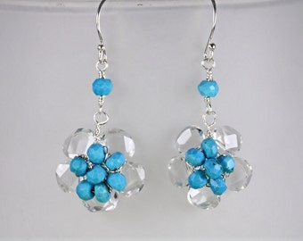 Sleeping Beauty Turquoise and Clear Quartz Flower Dangle Earrings,