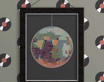 Print - Disco Ball. Music. Music Gifts. Music Teacher Gifts. Music Art. Music Poster. Dance. Dancing. Gift for Dancer. 70s. 70's. Disco. Art