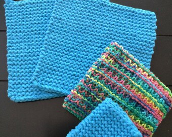 Hand Knitted Cotton Pot Holder, Cast Iron Handle Pad, and Dish Cloth Set, Turquoise Pot Holder Set