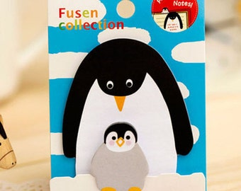 Mini Penguin Animal Parent-Child Sticky Notes / Animal Sticky Notes / Animal MemoPad / Kawaii Stationery / Cute Stationary / School Supplies