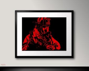 Firefighter Wall Art black and white art firefighter wall artfireman decor black