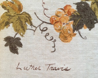 Vintage Luther Travis Linen Fall Tablecloth