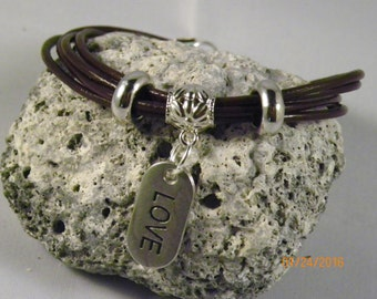 Leather and charm bracelet