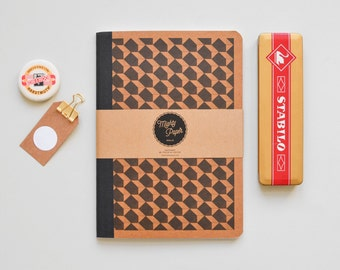Notebook, plain jotter, Recycling Notebook, bound blank Kraft paper B5