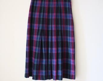 Vintage Wool Plaid Skirt, Medium 3522