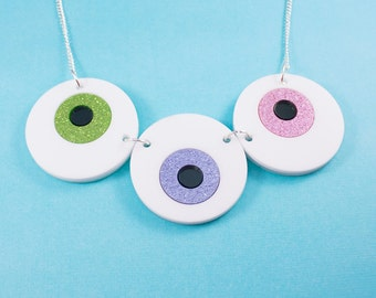 Glitter Eyeball Creepy Cute Pastel Goth Necklace