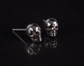 925 sterling silver skull ear studs