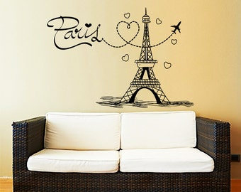 Eiffel Tower Wall Decal Vinyl Stickers Decals Art Home Decor Mural Vinyl Lettering Wall Decal Paris Silhouette France Bedroom Dorm ZX249