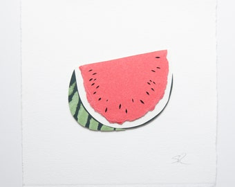 Watermelon handmade papercut picture // exotic fruits - wall art - watermelon art print - interior decor - fruit picture - personalized gift