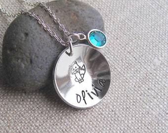 Personalized fox necklace, name necklace, swarovski birthstone, silver chain, hand stamped cupped disc, birthstone jewelry, gift for her