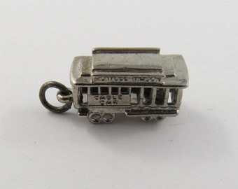 Powell and Mason Cable Car San Francisco with Driver Sterling Silver Charm of Pendant.