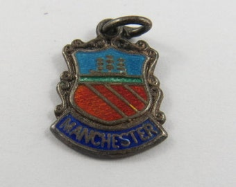 Enameled Manchester England Silver Charm of Pendant.