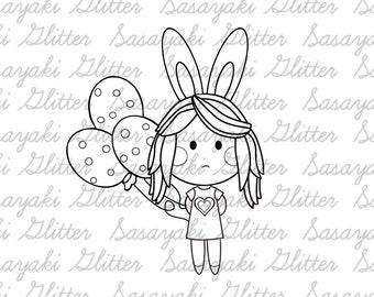 Bunny Girl Digital Stamp By Sasayaki Glitter