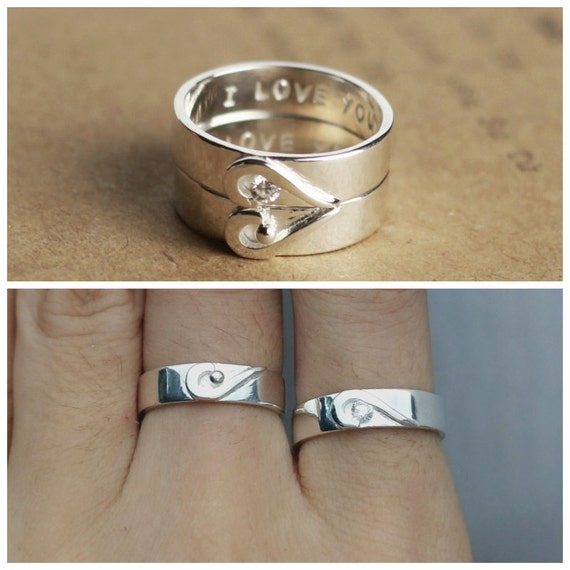 Matching Promise Ring Heart Couples Ring Personalized by JewelryRB
