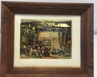 Lionel Berrymore Gold Foil Etching Artwork Titled Old Boat Work