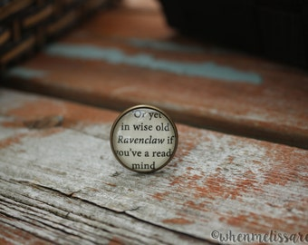 House pride wise clever ring 4 - Potterhead ring - Wizard ring - Potterhead quote ring