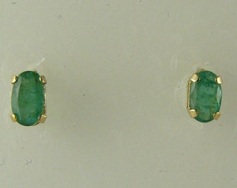Emerald 0.43ct Stud Earring, Green, Oval, 14k Yellow Gold Post and Push Back