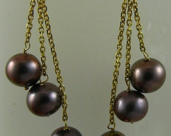 Freshwater Black 6.5mm -7mm Pearl Triple Strand Earring on 14k Yellow Gold Chain