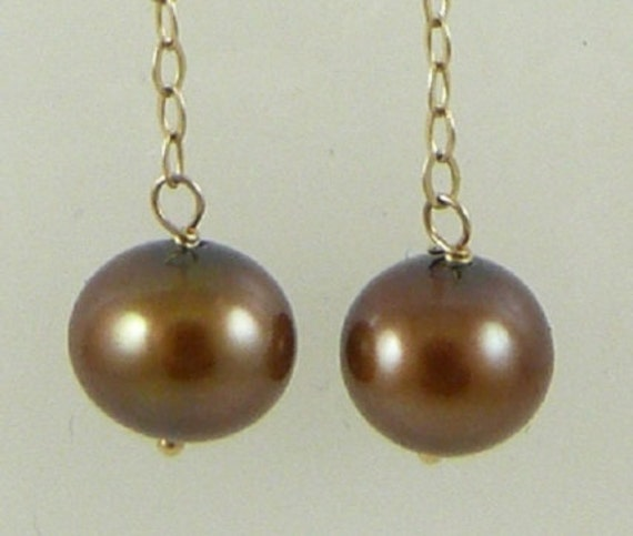 Freshwater Chocolate 7mm Pearl Earring 14k Yellow Gold Chain