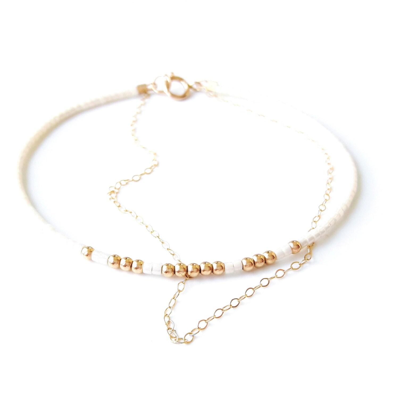 seed bead bracelet gold chain bracelet tiny delicate bracelet