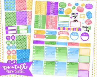 Neon Macarons | PRINTABLE     Planner Stickers | Pdf, Jpg, Silhouette Studio V3 Format | ECLP Vertical Planner Stickers