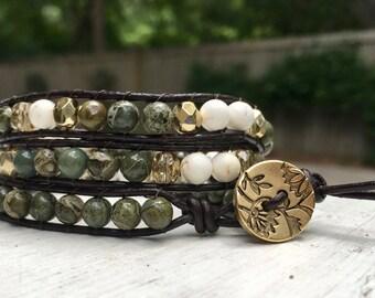 6mm Green White and Gold Handmade Boho Beaded Leather Wrap Bracelet