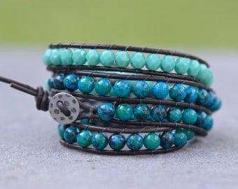 Blue-Green Leather Wrap Bracelet