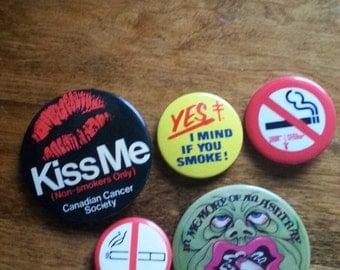 Bundle of 5 Assorted Anti Smoking Pinback Buttons, No Smoking, No Puffing, Smoking Stinks, Ashtray, Lung Association, I Mind if You Smoke