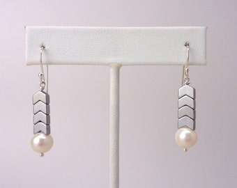 Chevron Hematite and Pearl Drop Earrings