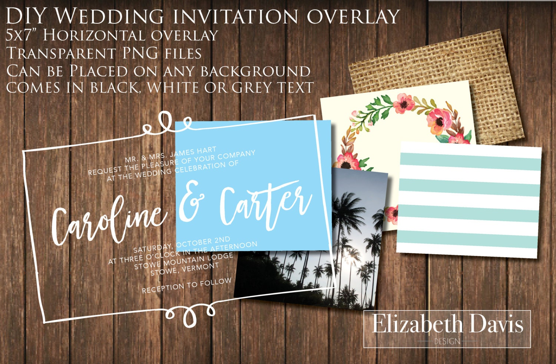 Printable DIY 5x7 Horizontal Wedding Invitation Overlay