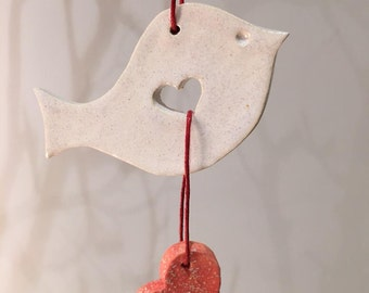 White Clay Bird Decoration - Christmas Ornament