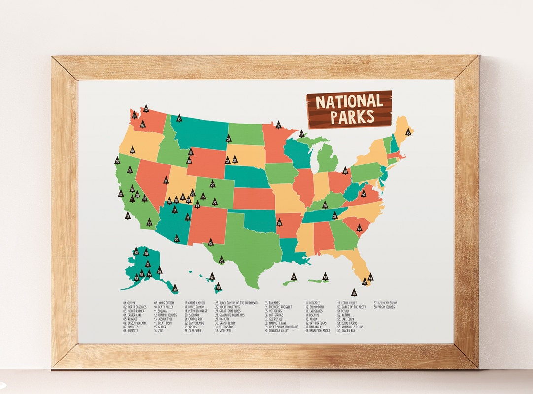 National Parks National Parks Print Kids Room Decor USA - Wall map of us national parks