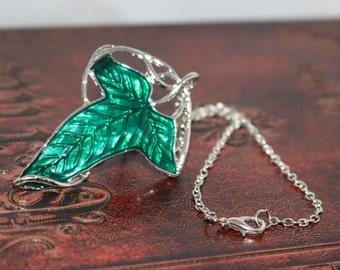 Elevn Leaf Pendant Brooch Necklace