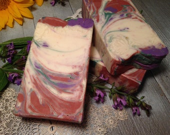 Last 1 - Under a LOVE SPELL Soap / Cold Process Handmade Soap / Artisan Swirled Soap Design / Victoria's Secret [Type] fragrance