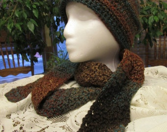 Crochet Hat and Scarf, Woodland Earthtone Colors