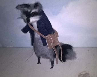 Needle Felted Animal, Eco-friendly toy, Raccoon with books and leather bag