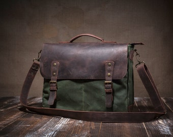 Messenger bag - canvas messenger bag - waxed canvas messenger - leather messenger bag  -mens messenger bag