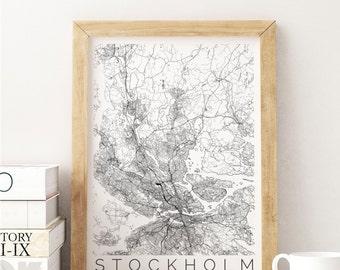 Map of Stockholm - Map ART - Stockholm Poster  - Office Decor - Stockholm Travel Poster - City of Stockholm, Sweden - Travel Decor