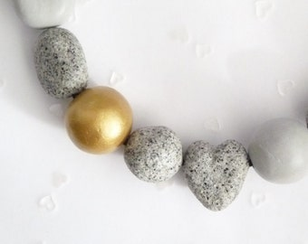 Statement necklace granite-stone-gold * hand modeled by Structallic