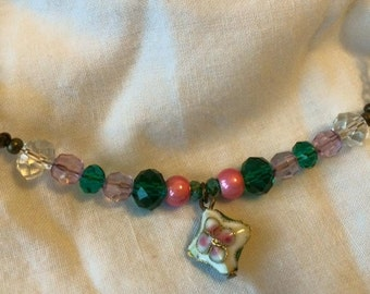Pink, green and brass vintage inspired necklace