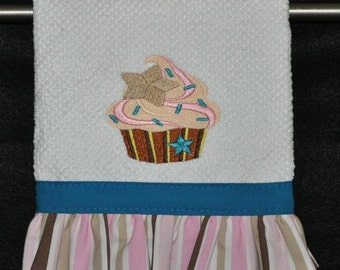 "Embroidered Dish Towel ""Star Spangled"" Cupcake"