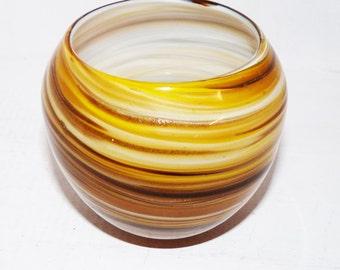 Glass Bowl Yellow Gold and Copper Swirls Murano? - 718