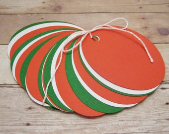 Holiday Gift Tags-Oval Cardstock Tags-Red, Green and White Gift Tags-Holiday Party Goodie Bag Tags-Party Favor Tags-DIY Blank Gift Tags