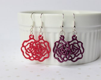 Handpainted Rose Filigree Earrings - Drop Earrings - Dangle Earrings - Colorful Earrings - Floral Earrings