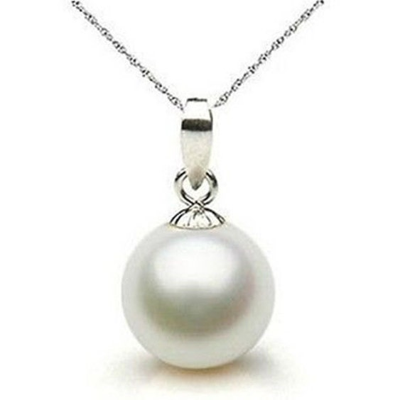 Lovely 12mm white round seashell pearl pendant, silver plated bale