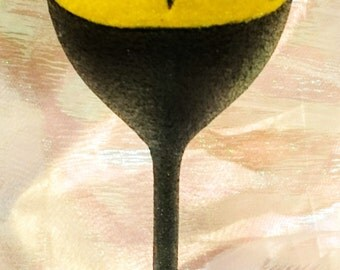 Hand Decorated Glitter Glass - Batman Wine Glass