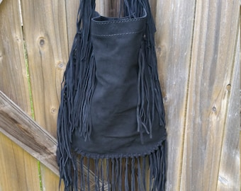 Black suede fringe purse, Big suede fringe crossbody bag, #47