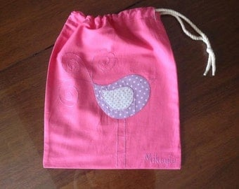 Library bag for children with drawstring- custom made