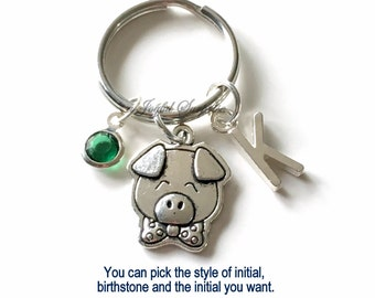 Pig KeyChain, Little Piggy Keyring Piglet Key chain Farm Animal Keychain, Personalized Initial Birthstone birthday present Christmas Gift